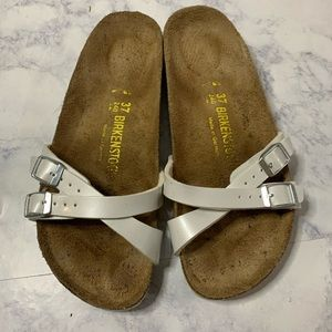 Birkenstock's white leather sandals